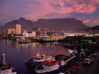 V&A Waterfront om aftenen, Cape Town, Sydafrika