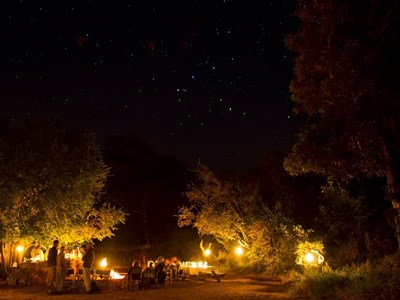 Bushcamp by night, Mpala Safari Lodge, Sydafrika