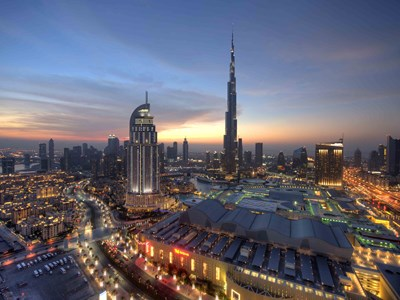 Downtown Dubai om aftenen