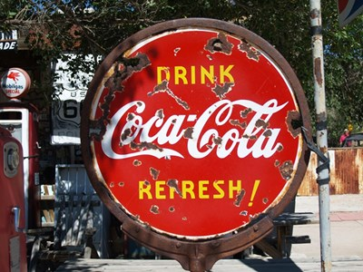 Coca Cola skilt ved Route 66